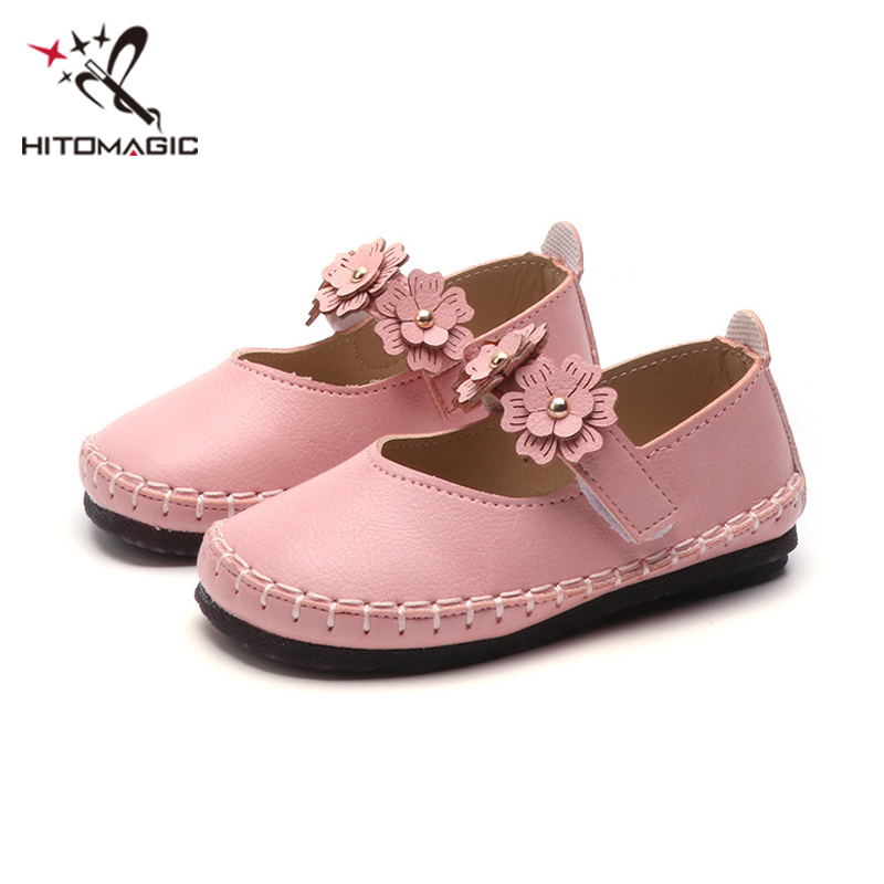 HITOMAGIC Princess Children Girls Leather Shoes For Girls Flower White Summer Footwear 2018 For Party Wedding Baby Kids Toddler