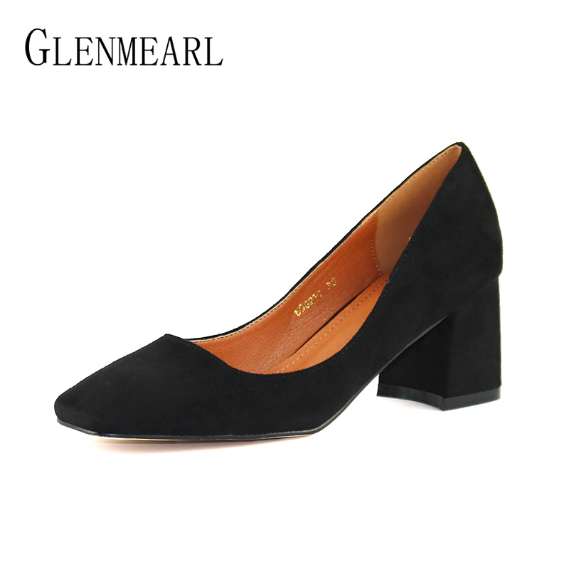 Retro Thick Heels Shoes Women Pumps Spring Flock Med Heel Square Toe Office Ladies Work Shoes Single Dress Pumps Free ShippingCE famiao 2018 women pumps ankle strap thick heel women shoes square toe mid heels dress work pumps comfortable ladies shoes