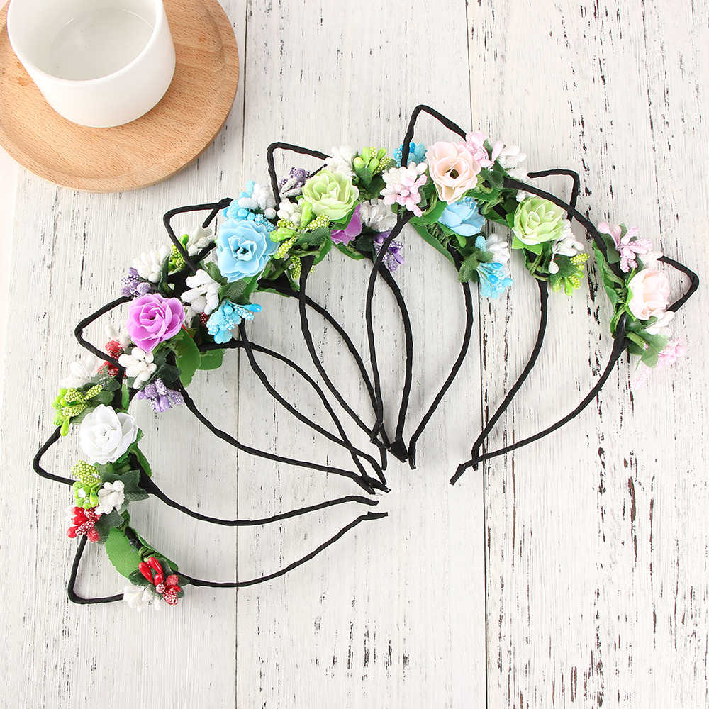 1 PC Women Girls Cute Rose Flower Headband Rabbit Ear Headband Hair Bands Hair Hoop Head Headwear Bride Headdress Popular