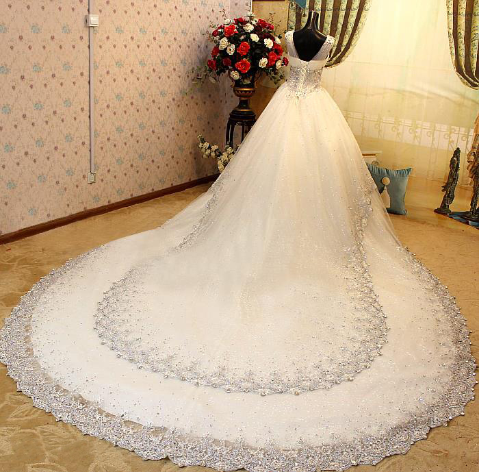 aliexpresscom buy luxurious v neck sleeveless beads cathedral train wedding dress for women formal occasion bride gown glittering crystal custom from