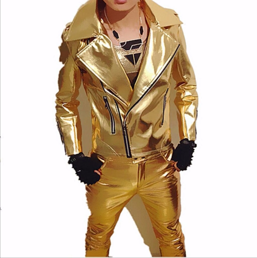 XS-3XL Men's New Hairstylist Slim Gold Silver Motorcycle Leather Jacket DS Singer DJ Nightclub Singer Performance Stage Costume