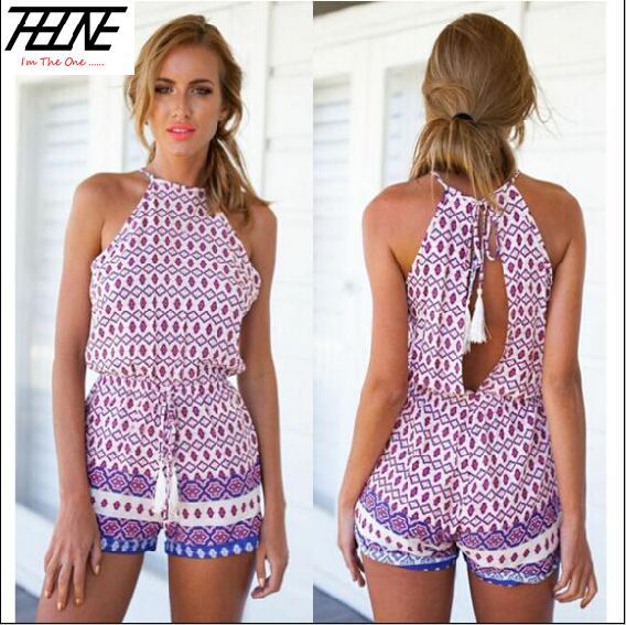 0a68d799c306 Women Rompers Jumpsuits Shorts Halter Sexy Backless Ethnic Sleeveless  Cotton Print Beach Playsuits Outfits