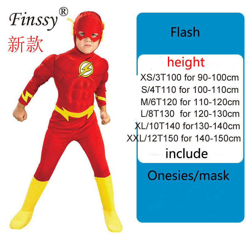The Flash Muscle Kids Comic Superhero Fancy Dress Fantasia Halloween Costumes Disfraces For Child Boy's Cosplay Clothing