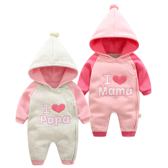 Nya 2017 Baby Winter Romper bomullspläterad One Piece Nyfödd Baby Girl Warm Jumpsuit Höst Fashion Baby Kläder Kid Climb Clothes