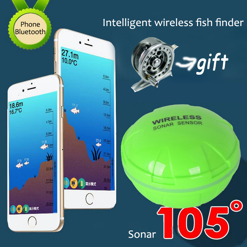 Portable Smart Wireless Sonar Sensor Bluetooth Fish Finder 30M/120ft Depth For IOS/ Android Phone Tablet Fishfinder portable fish finder bluetooth wireless echo sounder underwater bluetooth sea lake smart hd sonar sensor depth