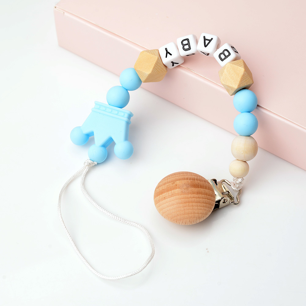 Raise Young Personalised Name Baby Pacifier Clips Wooden Pacifier Chain Silicone Dummy Holder Attache Tetine Personnalise-in Pacifiers Leashes & Cases from Mother & Kids