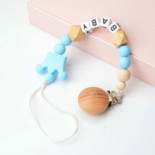 Raise Young Personalised Name Baby Pacifier Clips Wooden Pacifier Chain Silicone Dummy Holder Attache Tetine Personnalise