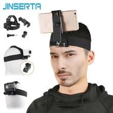"JINSERTA شريط للرأس جبل ل Gopro بطل 7 6 5 كاميرا في الهواء الطلق عصابة رأس حامل ل xiaoyi كاميرا 4 6.8 ""الهاتف المحمول"