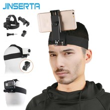 """Support de sangle de tête JINSERTA pour Gopro Hero 7 6 5 support de bandeau extérieur pour caméra xiaoyi 4 6.8 """"téléphone Mobile"""