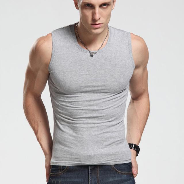 2017 Cotton Big Size Summer men clothing Tank Tops Black White Gray Singlets Sleeveless fitness men vest Bodybuilding t shirt