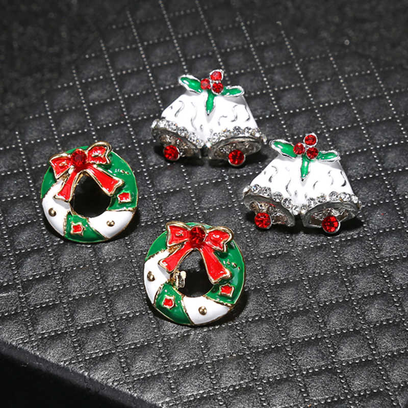 YAOLOGE Cute Enamel Decorative Earring Earrings Tree reindeer bells candy For Women Christmas Fashion party Jewelry Gift 2019
