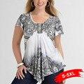 Plus Size Asymmetric Short Sleeves T-Shirt Vintage Floral Print Shirts For Woman