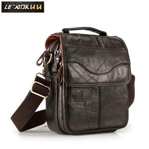 Image 2 - Original Leather Male Fashion Casual Tote Messenger bag Design Satchel Crossbody One Shoulder bag Tablet Pouch For Men 144
