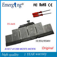 """10.95v 95Wh New Original Laptop Battery A1417 for Apple MacBook Pro A1398 15"""" 2012 Early 2013 Retina MD831LL/A with tools"""