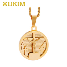 RP102 Xukim Jewelry Round Coin Cross Pendant Stainless steel Juses Religion Pendant Necklace rp115 s xukim jewelry silver pendant stainless steel cross pendant byzantine chain religion pendant necklace