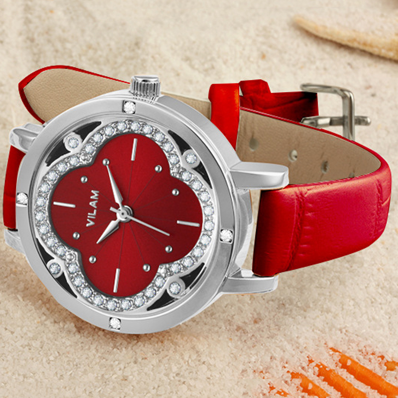 Luxury Brand VILAM Quartz Watch Waterproof Casual Fashion Watches Women Flower Rhinestones Leather Wristwatch relogios femininos meibo brand fashion women hollow flower wristwatch luxury leather strap quartz watch relogio feminino drop shipping gift 2012