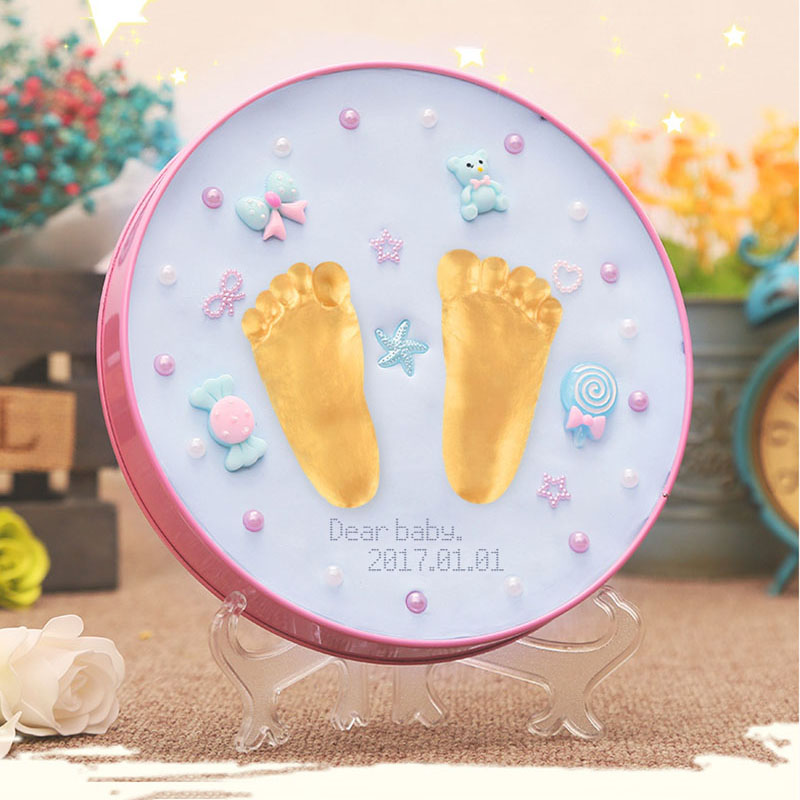 Newest Mother & Kids Baby Souvenirs Hand And Footprint Makers Soft Modeling Inkpad Clay For Newborns Diy Kit Toys As Gift