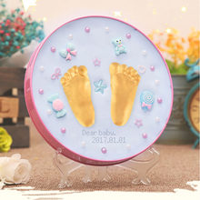 Newest Mother & Kids Baby Souvenirs Hand And Footprint Makers Soft Modeling Inkpad Clay For Newborns DIY Kit Toys As Gift(China)