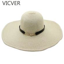 2019 Straw Hat With Leather Ribbon Summer Floppy Sun Hats Casual Women UV Protection Beach Cap Solid Color Wide Brim Ladies Caps