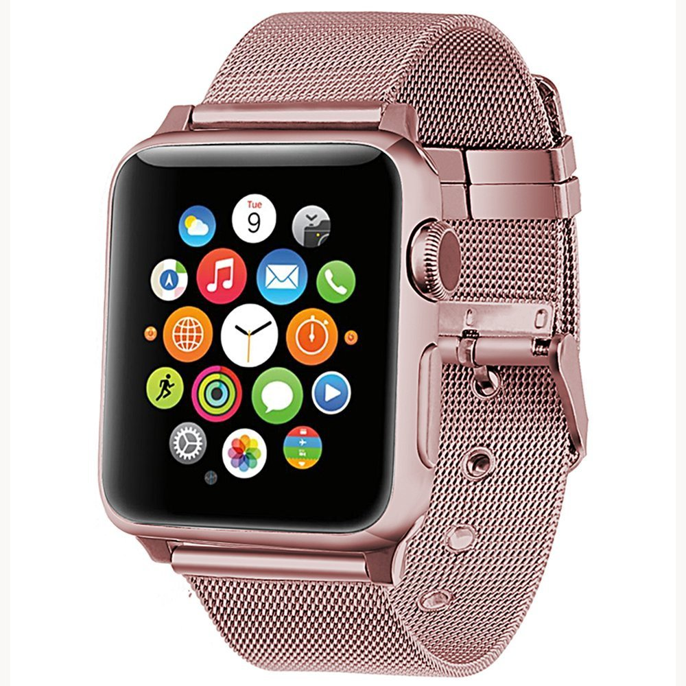 construcción racional venta de descuento como comprar US $13.63 |milanese loop for apple watch Series 3 2 1 replacement bracelet  band iwatch stainless steel strap buckle with connector-in Smart ...