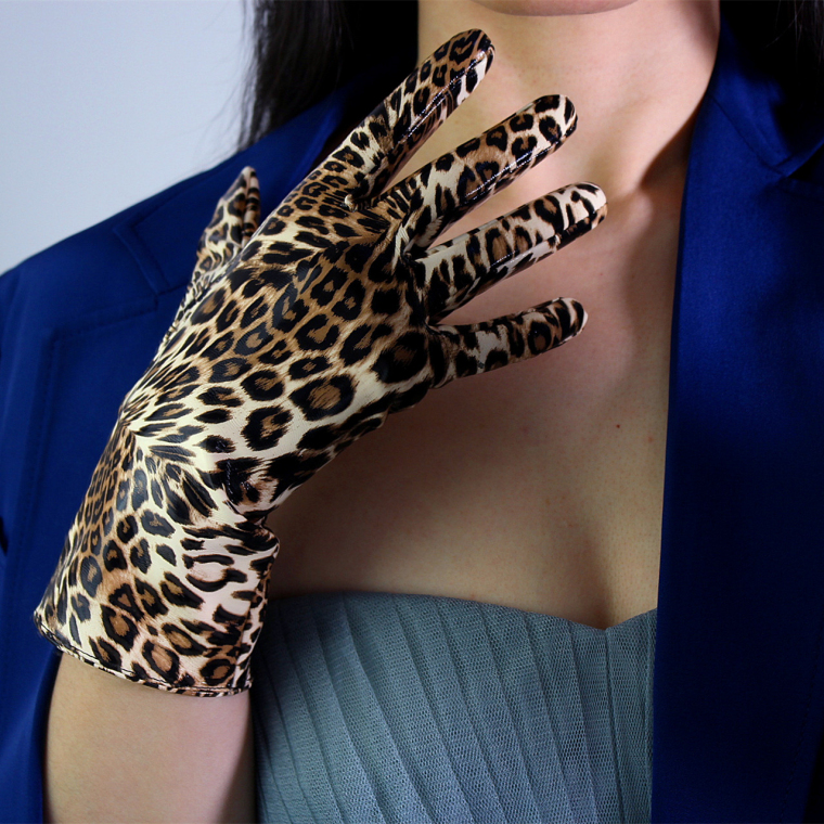 Women's Leopard Print Faux Pu Leather Gloves Female Sexy Club Party Dress Fashion Long Driving Dancing Glove 28cm R1195