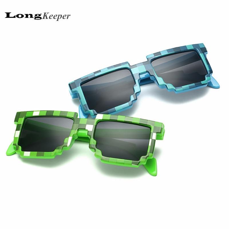 2016 Fashion Kids Sunglasses Smaller Size Minecraft Sunglasses for Children Sun Glasses Mosaic Boys Girls Pixel Eyewares LKP001