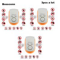 3PCS Electronic Ultrasonic Mosquito Repeller Mouse Mosquito Repellent Killer Mouse Cockroach Insect Rats Spiders Pest Control