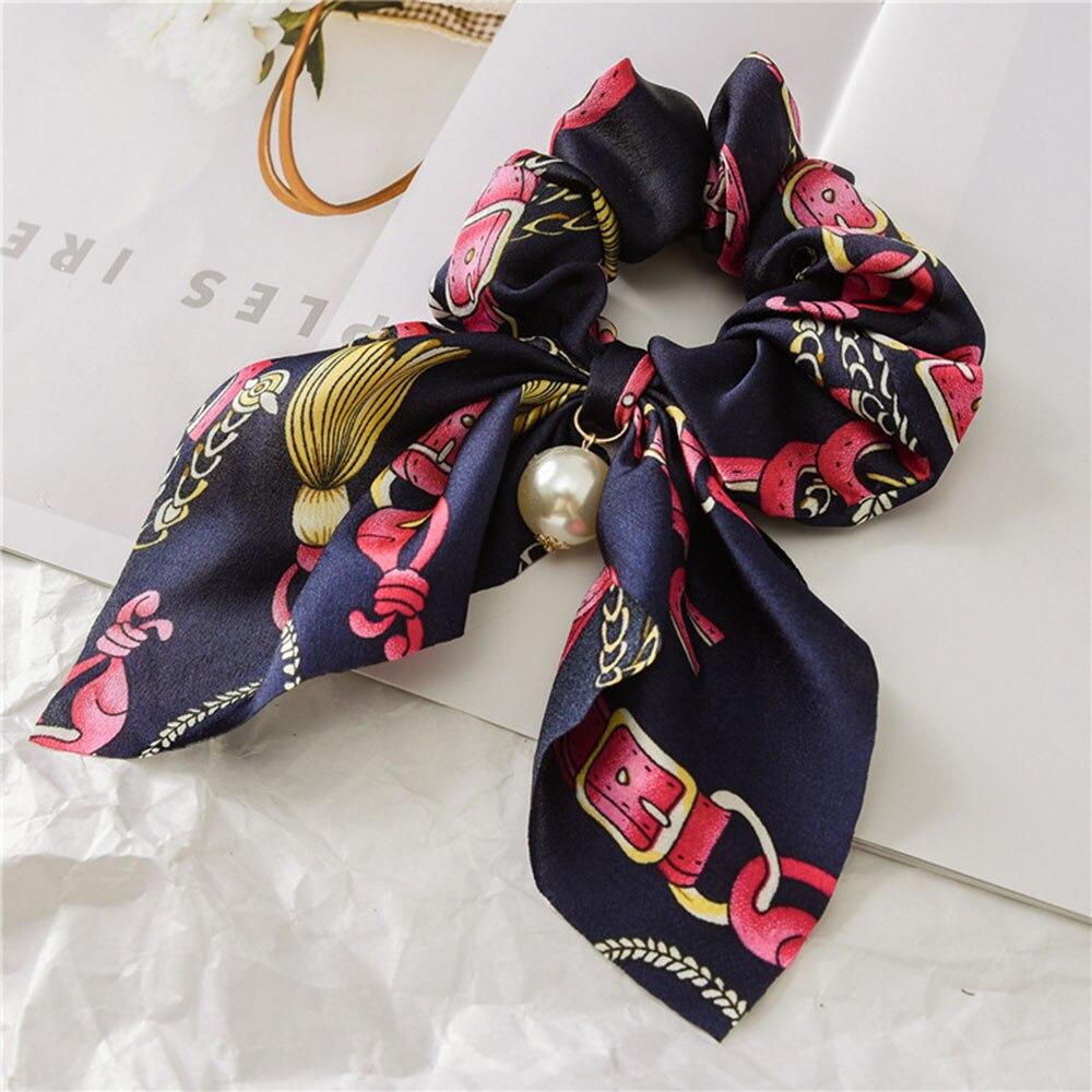 Новинка, шифоновые шелковые резинки для волос с бантом, женские жемчужные резинки для волос, резинки для волос, аксессуары для волос - Цвет: Navy 2