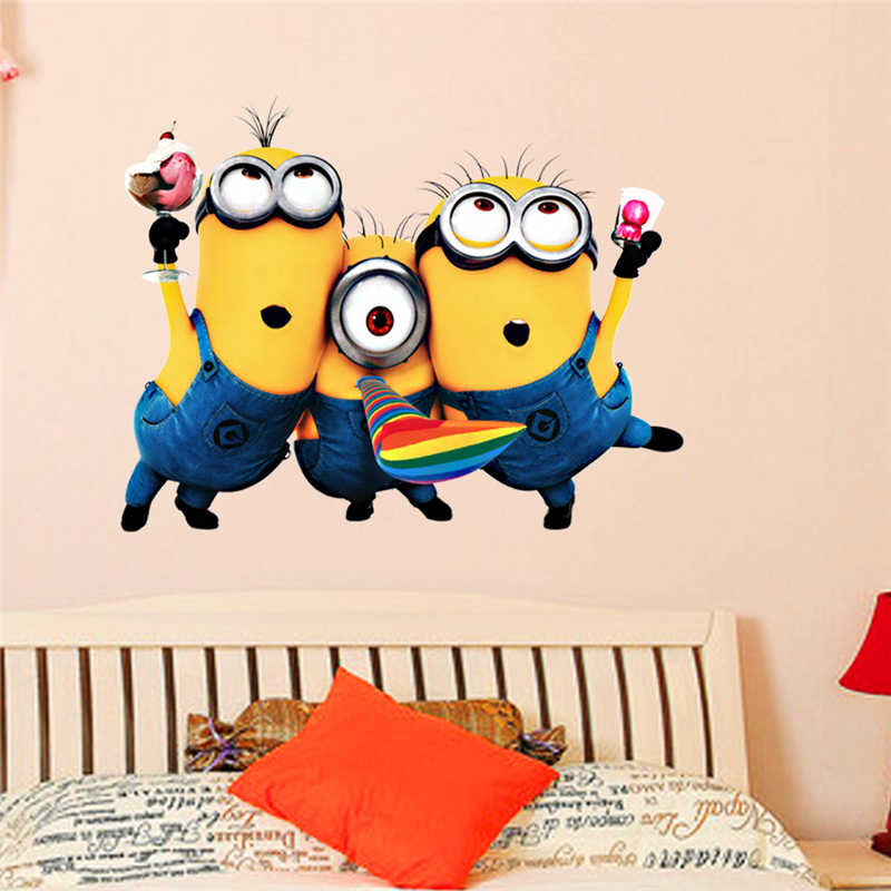 Cartoon Minions Muur Art Stickers Voor Home Decoratie Kinderen Slaapkamer Muur Stickers Diy 3d Anime Movie Posters
