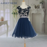 2014 Fashion New Navy Blue Lace Illusion Short Prom Dresses Vestidos De Formatura Curto Party Gowns