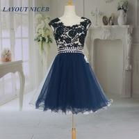 2014 Thời Trang New Hải Quân Xanh Ren Illusion Ngắn Prom Dresses vestidos de formatura curto Đảng Gowns dress mới nhất designs