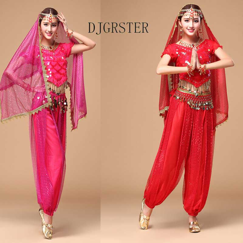 DJGRSTER Costume Bollywood Costume Bellydance Dress Fustan Femra Belly Dancing Costume Sets Fisni Tribal 2-3 copë / 1set
