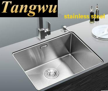Tangwu 304 Thick Stainless Steel Sink Manual Single Groove Undercounter Kitchen Vegetable Washing Basin 45x40 52x43 Cm In Sinks From Home