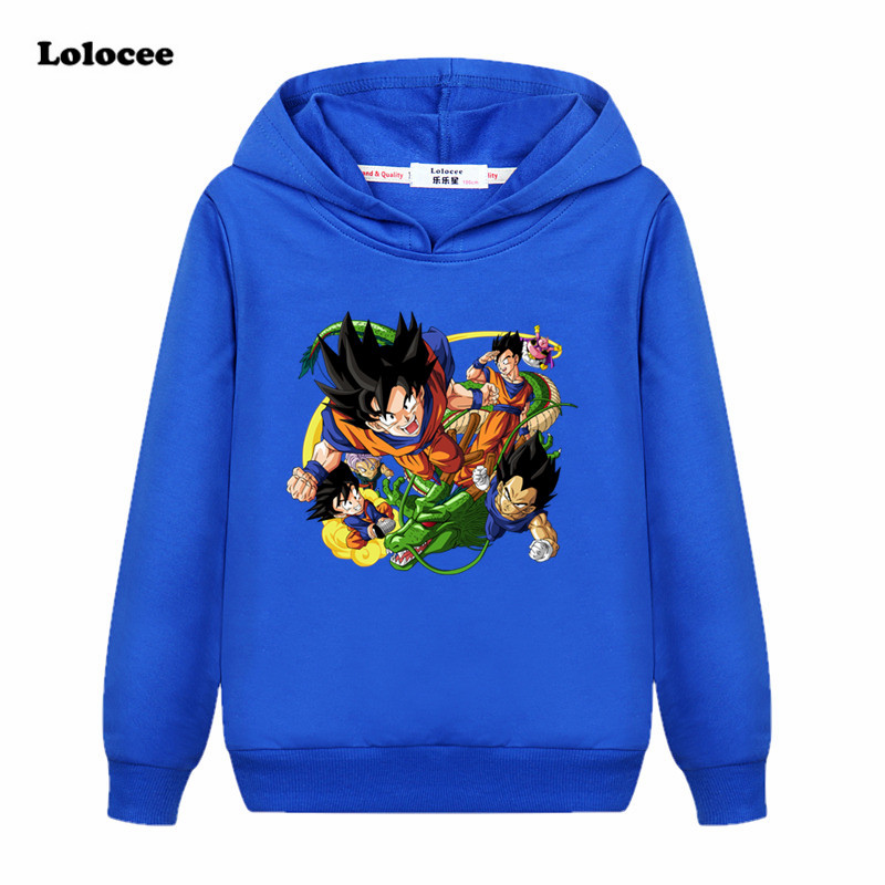 3-13 years Kids Dragon Ball Z Goku DBZ Hoodie Black Harajuku t shirt Girls Boys Spring Long Sleeve Sweatshirt kong fu Tops Gray