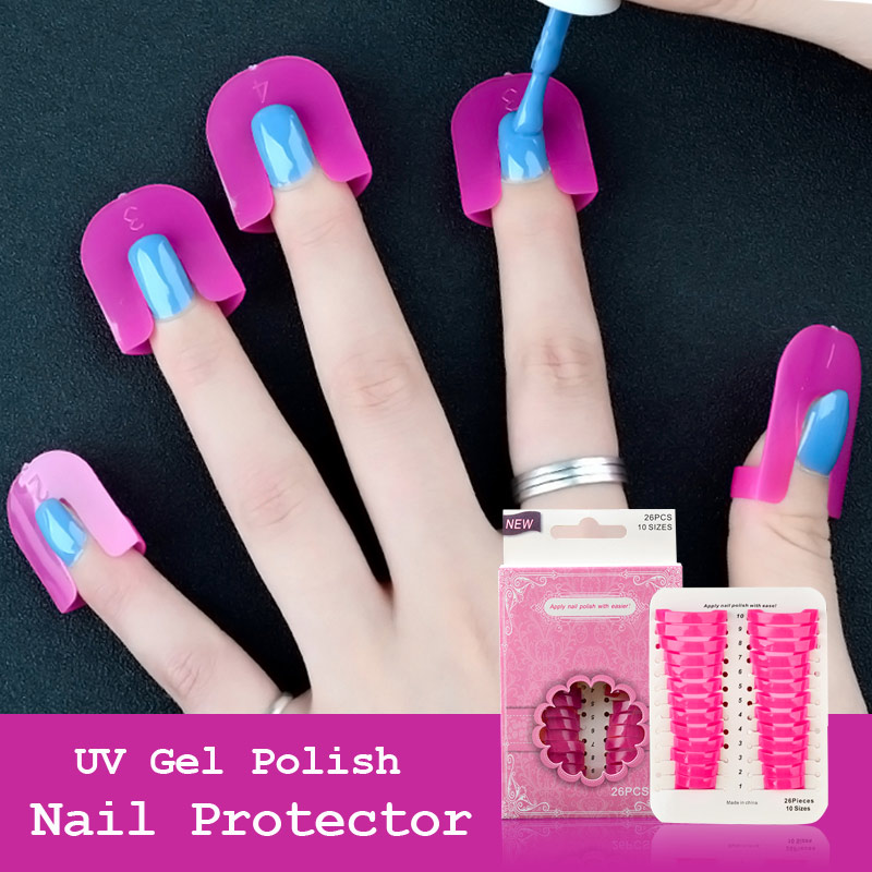 26pcs / Set UV Gel Nail Art Protector Stencils Creative Frumusete de unghii Sfaturi franceze pentru DIY Gel Nail Protector Instrumente de manichiura