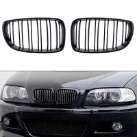 Black One Pair Car Grill for BMW E81 E87 120d 120i 130i Front Center Kidney Grilles Matte Black 2008 2009 2010 2011