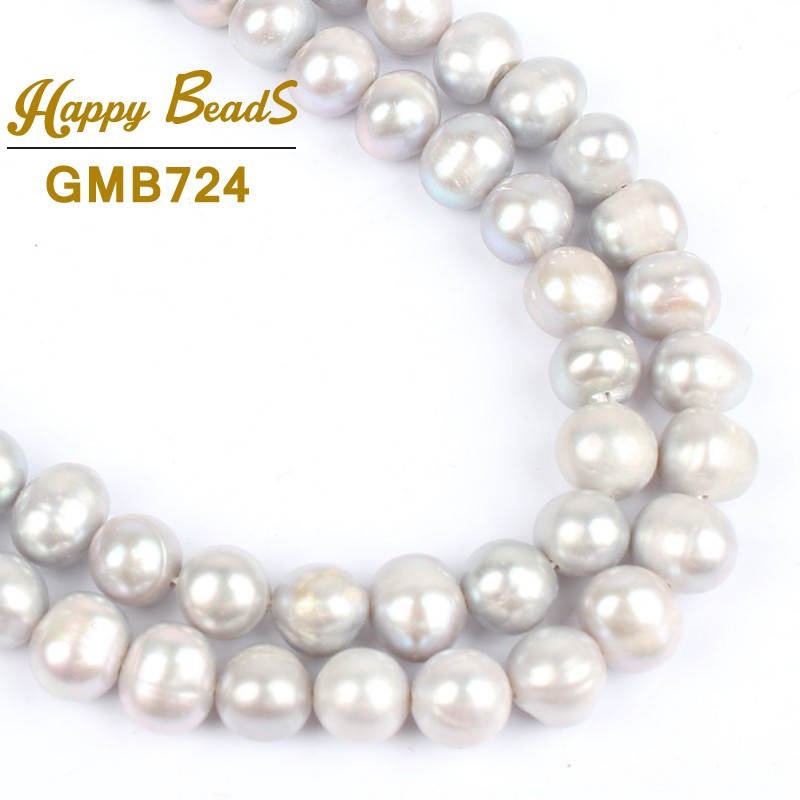 7-8mm black freshwater pearl /& 8mm round white moonstone quartz necklace 33-60/'/'