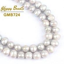de08080f78a2 Perlas redondas grises de 7-8mm perlas naturales de agua dulce cultivadas  cuentas sueltas de 15