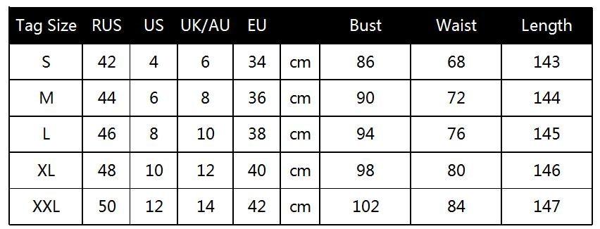 Sundress Size Chart