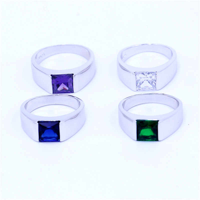 Vecalon 4 สี Birthstone แหวนผู้ชายเจ้าหญิงตัด 3ct 5A Zircon CZ 925 เงินสเตอร์ลิงแหวนหมั้นแหวนสำหรับผู้ชาย