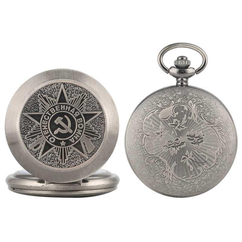 Uni Soviet Soviet Lencana Sabit Hammer Pocket Watch Kalung Abu-abu Perak Liontin Rantai Jam Pro Kitty Fob Natal Hadiah untuk pria