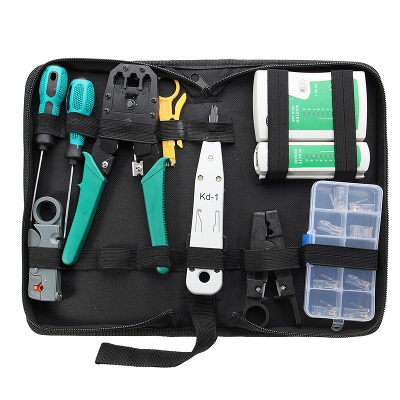 11Pcs Network Combination Cable Wire Tester Crimping Cutter Punch Down Tools Kit RJ11 RJ45 Computer Network Tool Repair Kit ratchet cable wire cutter cut up to 240 hs 325a plier hand tools