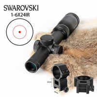 Tactical Imitation Swarovskl Circle Dot Riflescope 1-6x24 IR Riflescope Optical Scope Red Dot Reticle Sight Hunting Rifle Scopes