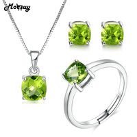 MoBuy Bohemia Style Natural Gemstone Green Peridot 3pcs Jewelry Sets 100% 925 Sterling Silver For Girls Fine Jewelry V018ENR