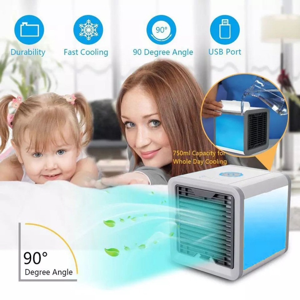 New Mini Air Conditioner Multifunction Cooling Fan with 7 Colors LED Lights Air Humidifier Purifier Air Cooler Summer Home