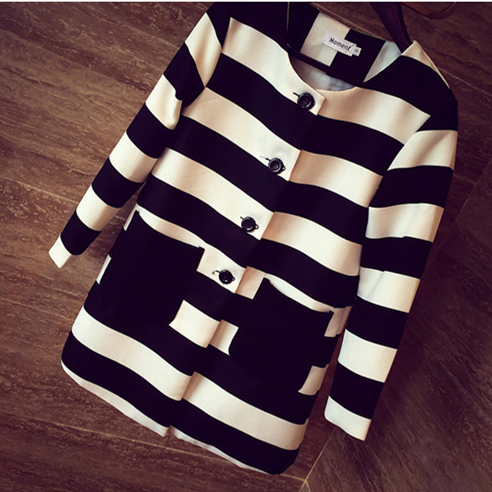 2017 New Style Spring & Autumn Women Outerwear Striped Printed Jacket Slim Casual Coat