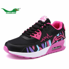 LANTI KAST Women Running Shoes Popular Trend Air Cushion Sneakers for Girls Shock Absorption Support Lace Up Female Sport Shoes