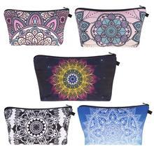 3D Цветочный узор в виде мандалы, женская косметичка, сумка для макияжа, модная сумка с цветочным геометрическим принтом, косметичка для девочек, сумочка для туалетных принадлежностей