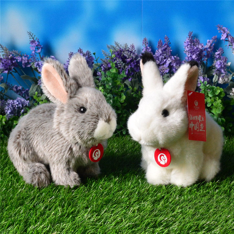 Soft Simulation Rabbit Plush Toys Cute White Gray Hare Plush Doll Moutain Hare Stuffed Toy Gifts For Children Free Shipping 1pcs 22cm fluffy plush toys white eyebrows cute dog doll sucker pendant super soft dogs plush toy boy girl children gift