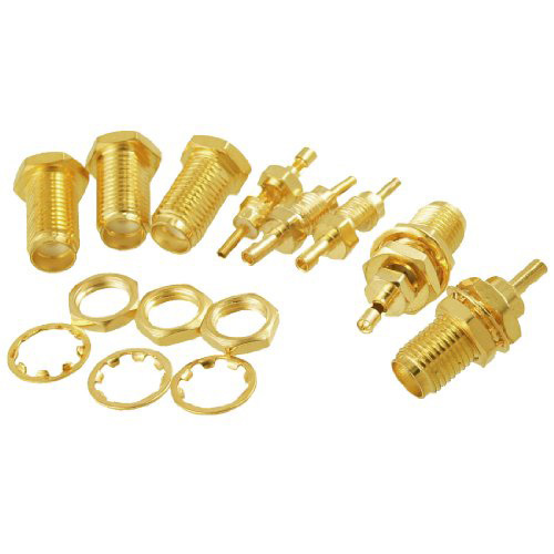 2015 Hot New 5 Pcs SMA Female Nut Bulkhead Crimp Straight RF Coax Connectors Adapters